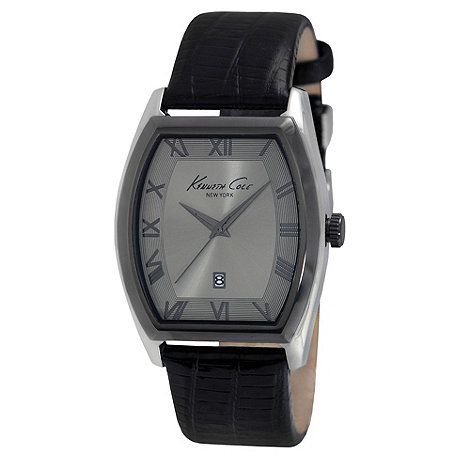 Kenneth Cole - Men+s black tonneau analogue dial mock-croc strap watch