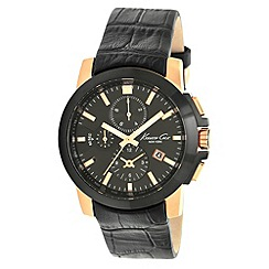 Kenneth Cole - Men's black chronograph dial mock-croc leather strapped watch
