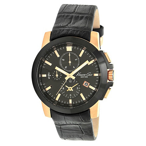 Kenneth Cole - Men+s black chronograph dial mock-croc leather strapped watch