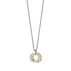 Guess - Rhodium and gold plated guess necklace features an open circle pendant