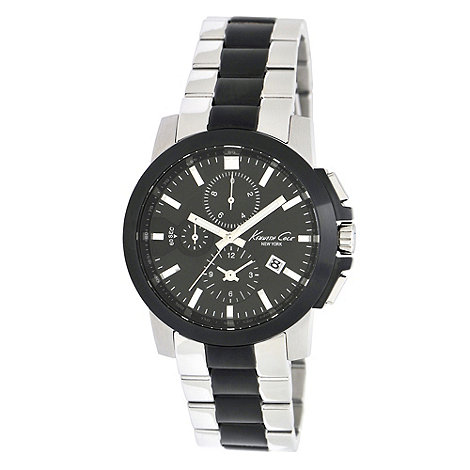 Kenneth Cole - Men+s black stainless steel chronograph watch