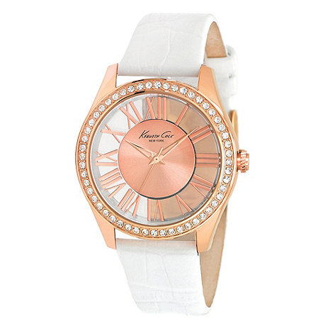Kenneth Cole - Ladies white mock croc leather strap watch