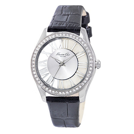 Kenneth Cole - Ladies black mock croc leather strap watch
