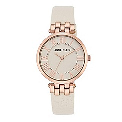 Anne Klein - Women's watch with rose gold case and ivory leather strap