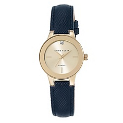 Anne Klein - Women's watch with gold case, diamond and navy polyurethane strap