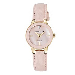 Anne Klein - Women's watch with gold case, diamond and light pink polyurethane strap