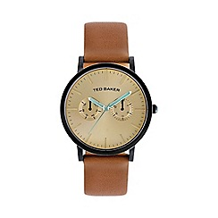 Ted Baker - Designer men's tan multi dial watch