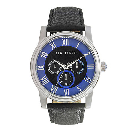Ted Baker - Designer men+s black buckle strap watch