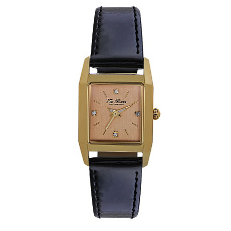 Ted Baker - Designer ladies black square case watch
