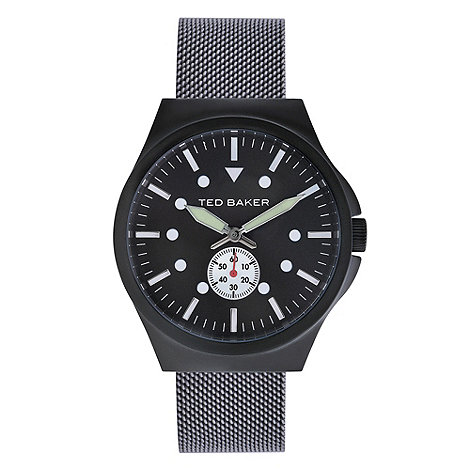 Ted Baker - Designer men+s black meshed strap watch