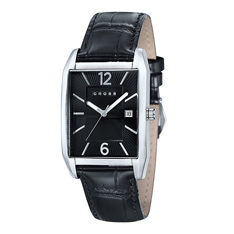 Cross - Men+s black square dial mock croc watch