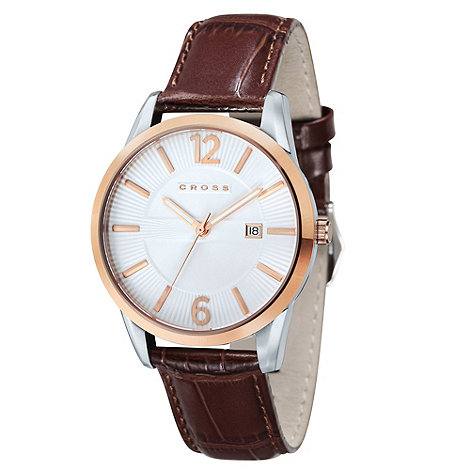 Cross - Men's tan round gold dial watch