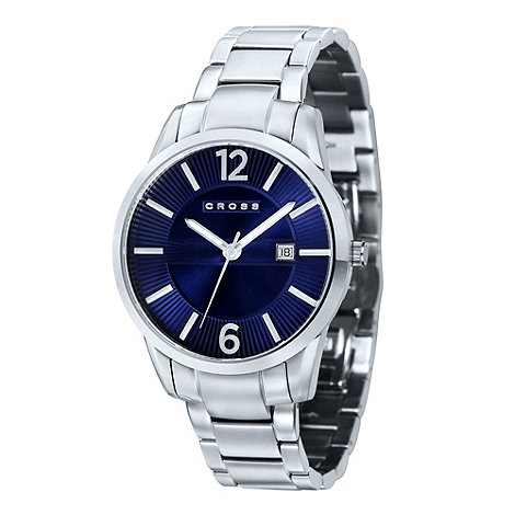 Cross - Men+s silver round blue dial bracelet watch