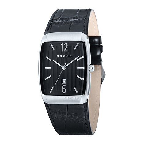 Cross - Men+s black rectangular dial mock croc watch