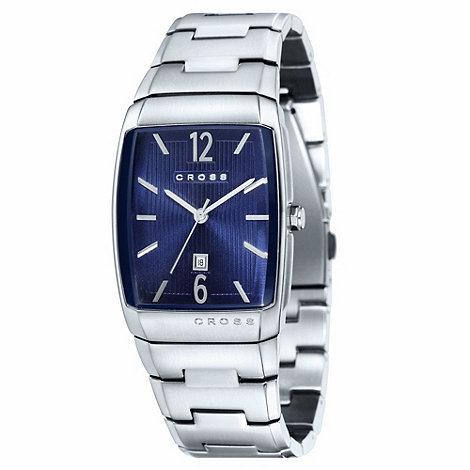 Cross - Men+s silver rectangular blue dial bracelet watch