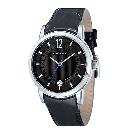 Cross - Men+s black round dial watch