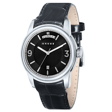 Cross - Men+s black round silver dial watch