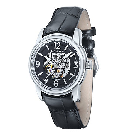 Cross - Men+s black skeleton dial watch