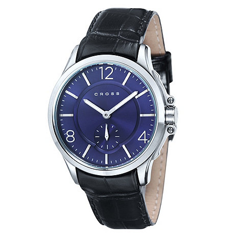 Cross - Men+s black round blue dial watch