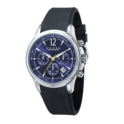 Cross - Men+s black blue chronograph dial watch