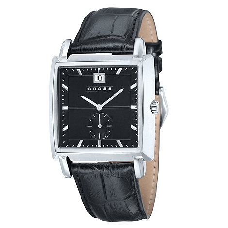 Cross - Men+s black square dial watch