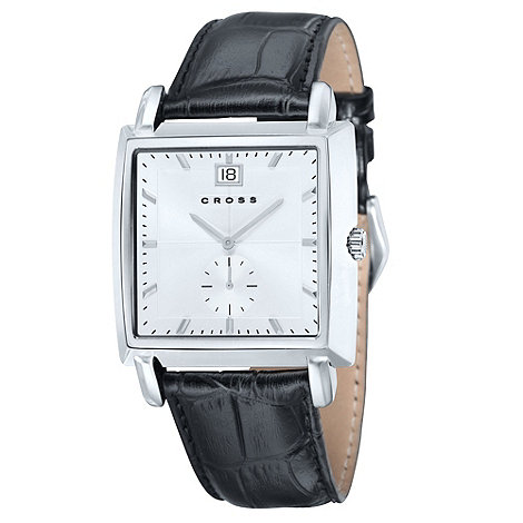 Cross - Men's black square white dial watch
