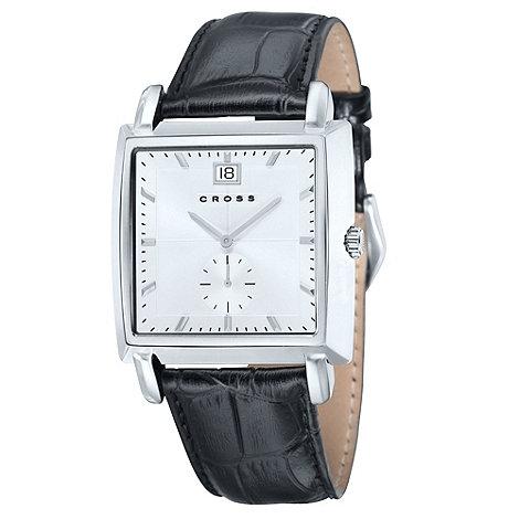 Cross - Men+s black square white dial watch
