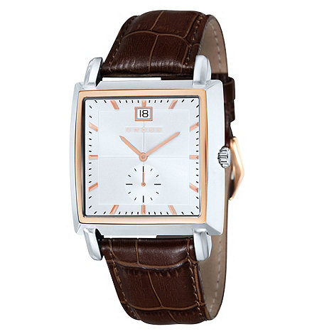 Cross - Men+s brown square white dial watch