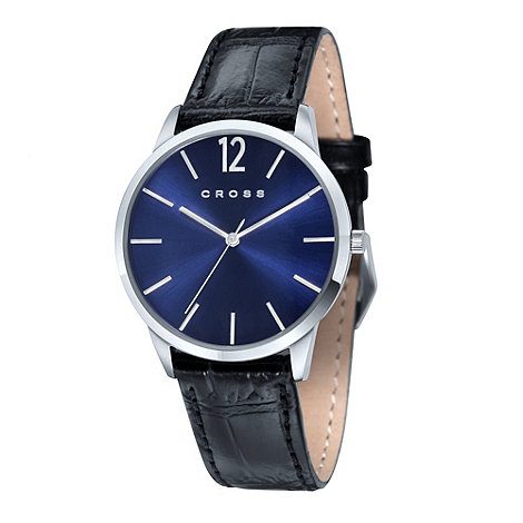 Cross - Men+s black blue dial watch