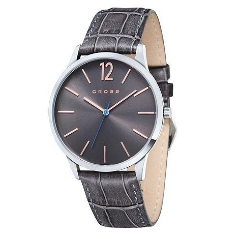 Cross - Men+s dark grey mock croc watch