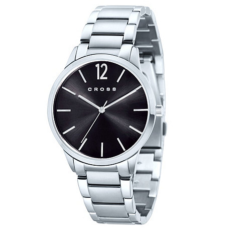 Cross - Men+s silver round black dial bracelet watch