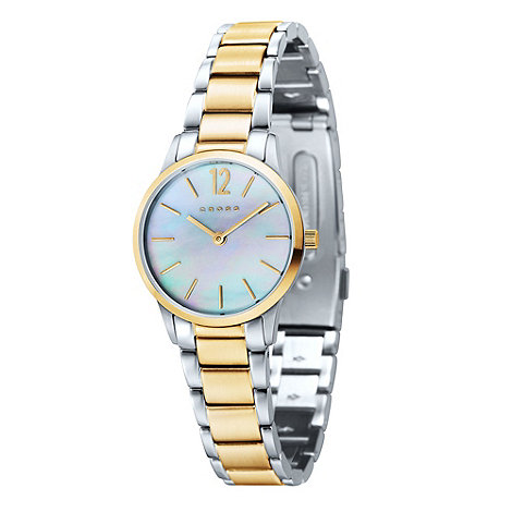 Cross - Ladies+ silver and gold mother of pearl dial bracelet watch