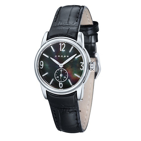 Cross - Ladies+ black and silver rainbow dial watch