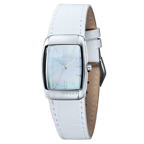 Cross - Ladies+ white rectangular mother of pearl dial watch