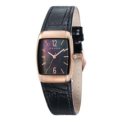Cross - Ladies+ black rectangular mother of pearl dial watch