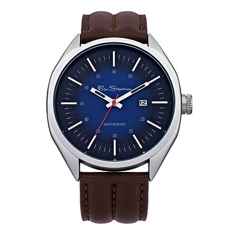 Ben Sherman - Men+s brown blue dial leather watch
