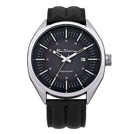 Ben Sherman - Men+s black round dial leather strap watch