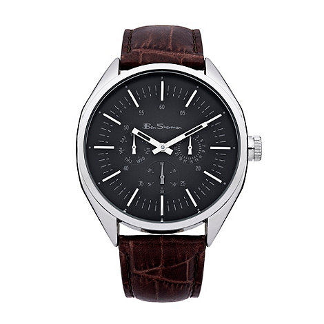 Ben Sherman - Men+s brown black dial mock crock leather watch