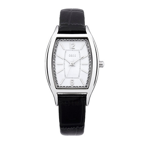 Oasis - Ladies+ black silver dial watch