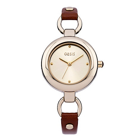 Oasis - Ladies+ brown and gold round dial watch