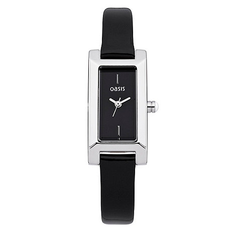 Oasis - Ladies+ black square dial leather watch