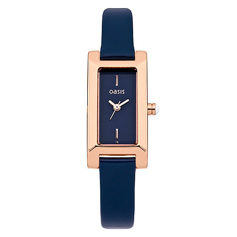 Oasis - Ladies+ navy square dial leather watch