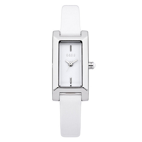 Oasis - Ladies+ white square dial leather watch