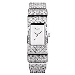 Oasis - Ladies' silver diamante watch
