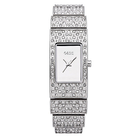Oasis - Ladies+ silver diamante watch