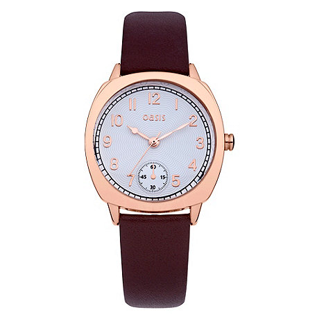 Oasis - Ladies+ brown and rose leather strap watch