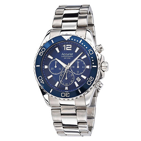 Accurist - Men+s stainless steel blue chronograph watch