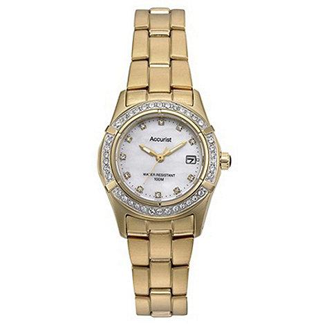 Accurist - Ladies gold stone bezel bracelet watch