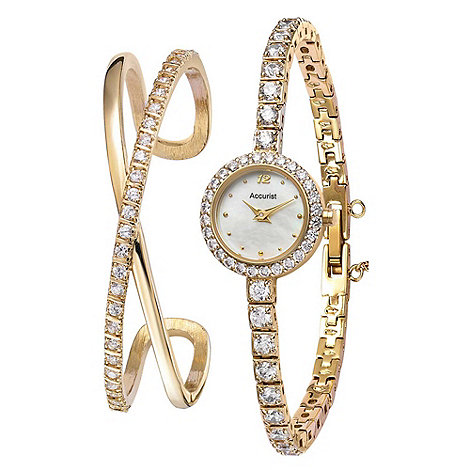 Accurist - Ladies gold tone watch set