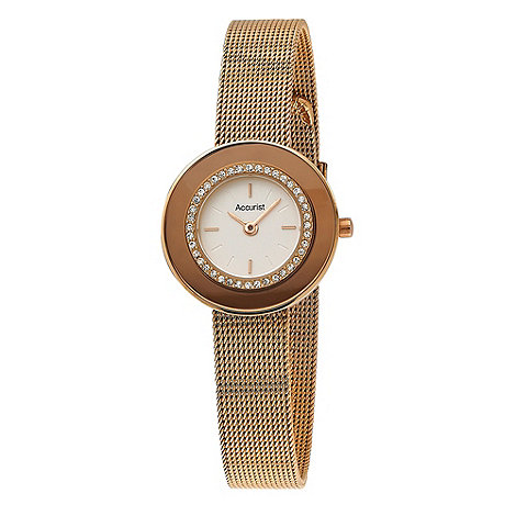 Accurist - Ladies+ rose stone set mesh strap watch